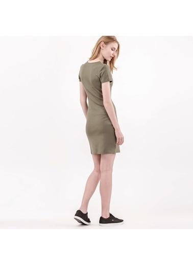 Yakası Bağlamalı Kısa Kollu Elbise-Lacoste
